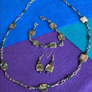 *Abalone and pyrite necklace set